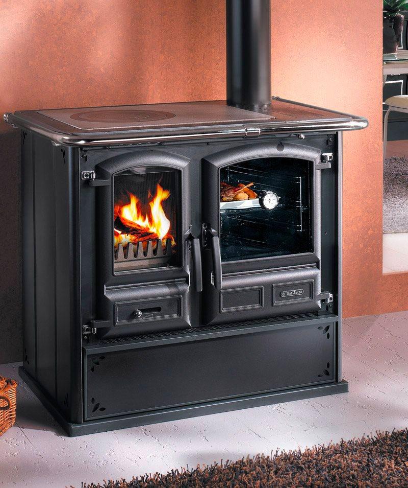 Cucina a Legna con Forno 1 Focolare in Ghisa Rivestimento in Acciaio 8.2 kW  Volume 186 m³ Larghezza x Profondità 102 x 66 cm colore Antracite - ...