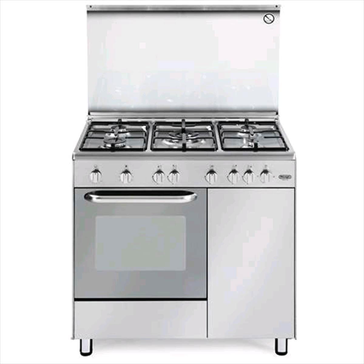 Cucine A Gas Con Forno A Gas Usate.Cucina A Gas De Longhi Dgx 96 B5 5 Fuochi Forno Gas In Offerta Su