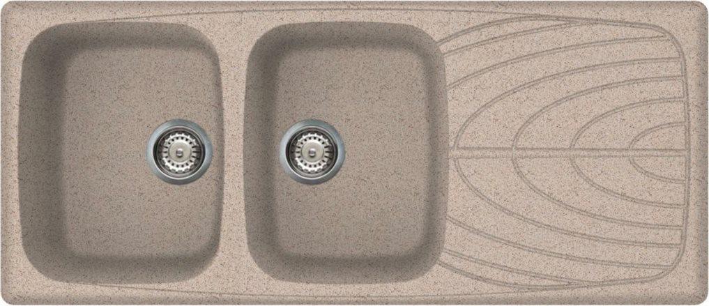 Lavello Cucina Fragranite 2 Vasche Incasso con Gocciolatoio Larghezza 116  cm materiale Granitek colore Terra 53 - LGM50053 Master 500 Serie Master