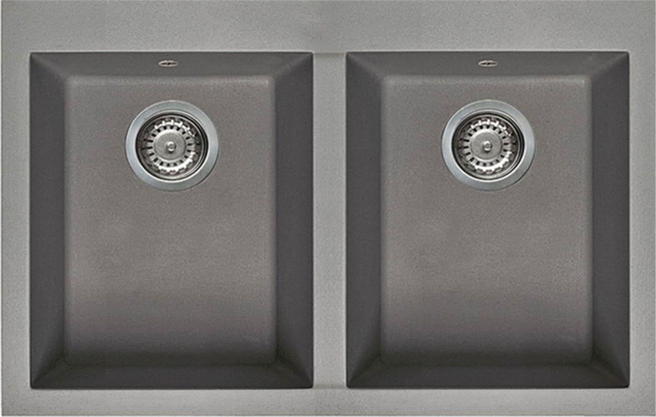 Lavello Cucina 2 Vasche Incasso Larghezza 79 cm materiale Metaltek colore  Alluminium M79 - LMQ35079 | Quadra 350 | Serie Quadra