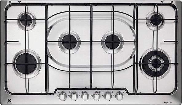 Piano cottura a gas da incasso 6 Fuochi (1 Bruciatore Wok - Tripla Corona)  Larghezza 90 cm colore Acciaio Inox - PX960DUV Serie Soft