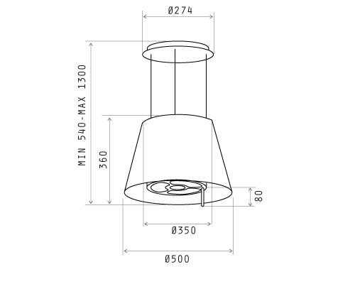 Cappa Elica PLATINUM IX/F 51 - 65414587/2 - Cappa cucina filtrante ...