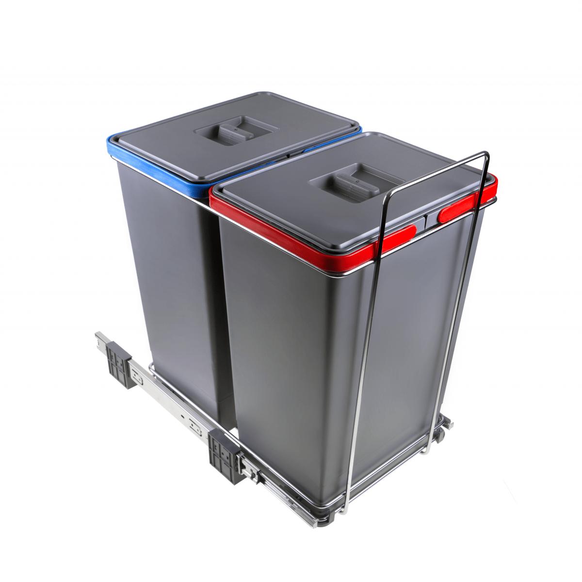 Box Per Bidoni Spazzatura bidoni raccolta differenziata estraibili per mobili 2 contenitori  spazzatura 24+24 litri in plastica e acciaio colore grigio - pf01 44b2  ecofil