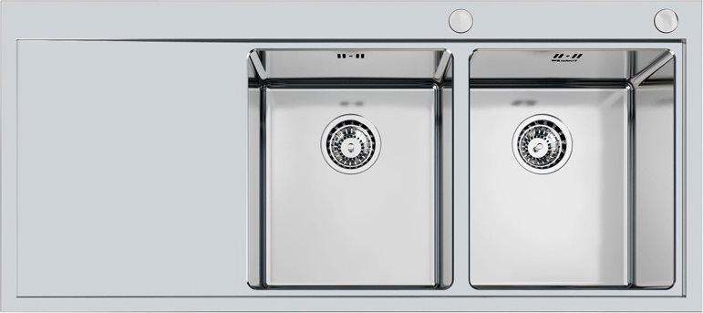 Lavello Cucina A Incasso.Foster Lavello Cucina 2 Vasche Incasso Con Gocciolatoio Sx Larghezza