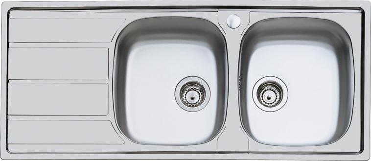 Lavello Cucina 2 Vasche Incasso con Gocciolatoio Sx Larghezza 116 cm  materiale Acciaio Inox finitura Spazzolato - 1812 161 S1000