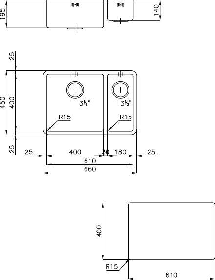 Foster lavello cucina sottotop 2 vasche larghezza 66 cm - Lavello cucina sottotop ...