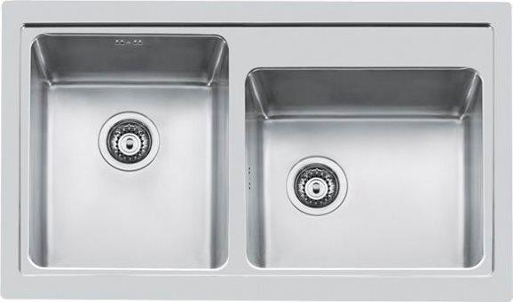 Lavello Cucina 2 Vasche Incasso Larghezza 86 cm materiale Acciaio Inox  finitura Spazzolata - 4382 050 Serie S4000