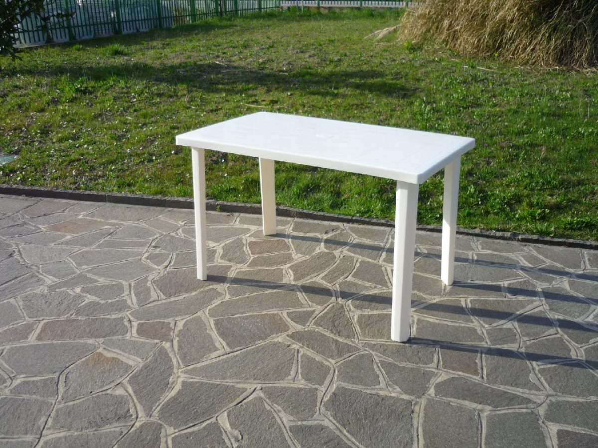 Tavolo da giardino in resina bica 54 white arredo for Tavoli da giardino in resina