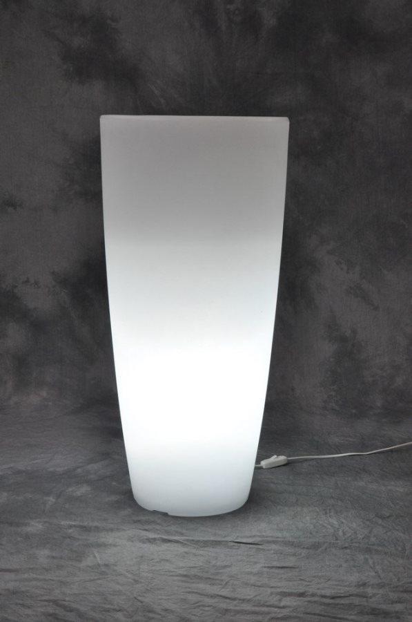 Vaso Luminoso Per Piante In Resina Colorata Per Interno / Esterno Cm 33X70H  Bianco Ghiaccio Luce Bianca   HOME LIGHT TONDO ARREDAMENTO