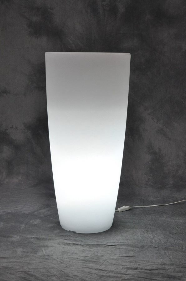Giardini del Re Vaso Resina Luminoso cm 40X90H bianco bianca HOME LIGHT TONDO