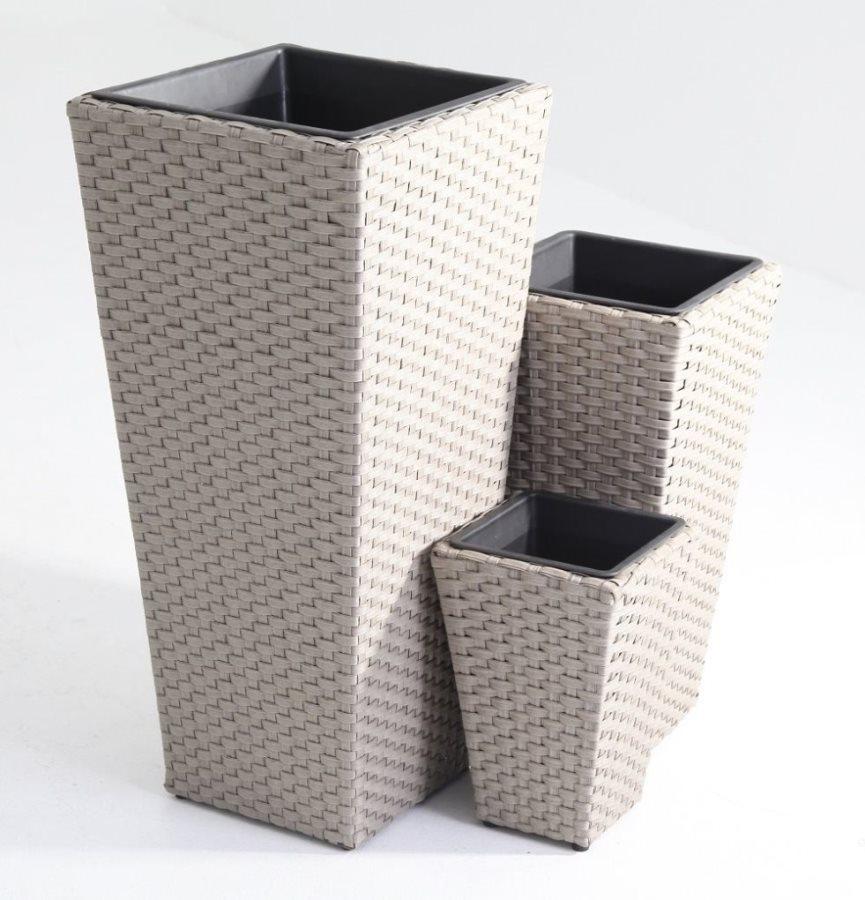Giardini del re vaso per piante da esterno portavaso in resina polirattan set 3 pezzi set 3 - Portavasi da esterno ...