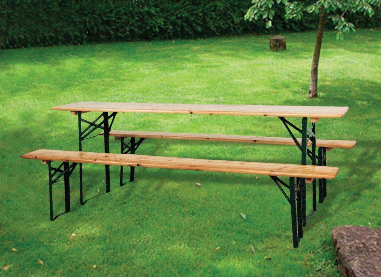 Set birreria con tavolo e 2 panche 220x70x76 arredo for Outlet del giardino
