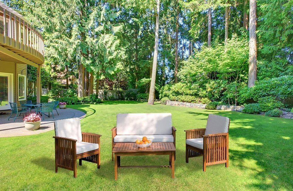 Set da giardino salotto in legno new castle offerte for Divano esterno legno