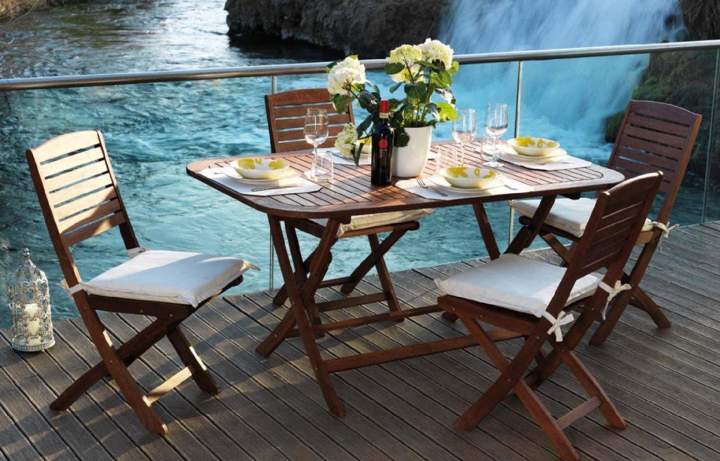 Tavolo da giardino in legno flower 150x90x74h arredo giardino e