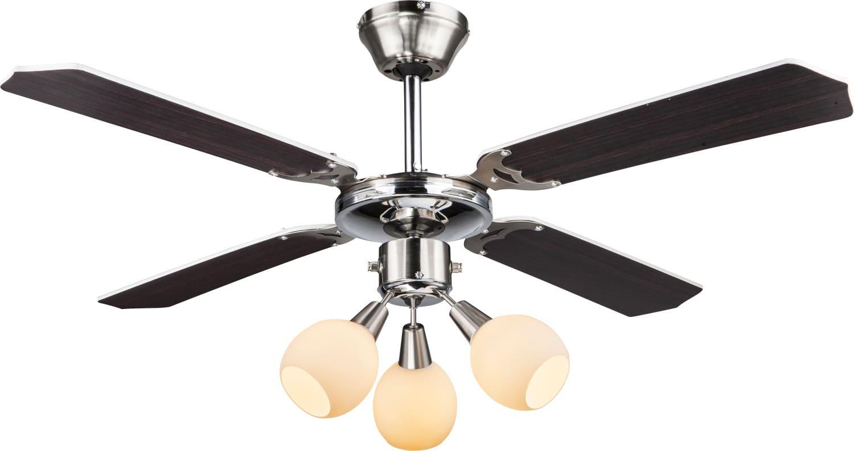 Globo lighting ventilatore da soffitto con luce 4 pale for Lampadario a pale brico