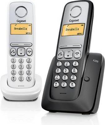 Gigaset Telefono Cordless DECT con Vivavoce col. Nero A230 DUO NERO