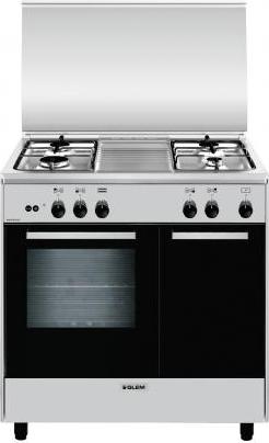 glem gas cucina a gas 4 fuochi forno a gas grill 80x50 cm inox ar854gi