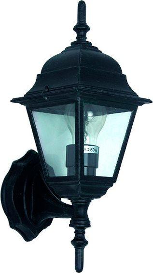 Globex Lampada Esterno Giardino Applique Parete cm 15x15x41 h Nero 4101 Danubio