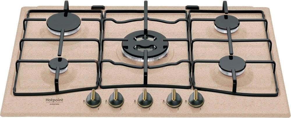 Piano Cottura 5 Fuochi a gas da incasso (1 Bruciatore Wok) Larghezza 75 cm  colore Avena - PCN 750 T (AV) R /HA