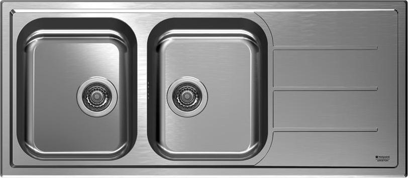 Lavello Cucina Ariston Hotpoint SC 116W2 AX HA 2 Vasche Inox ...