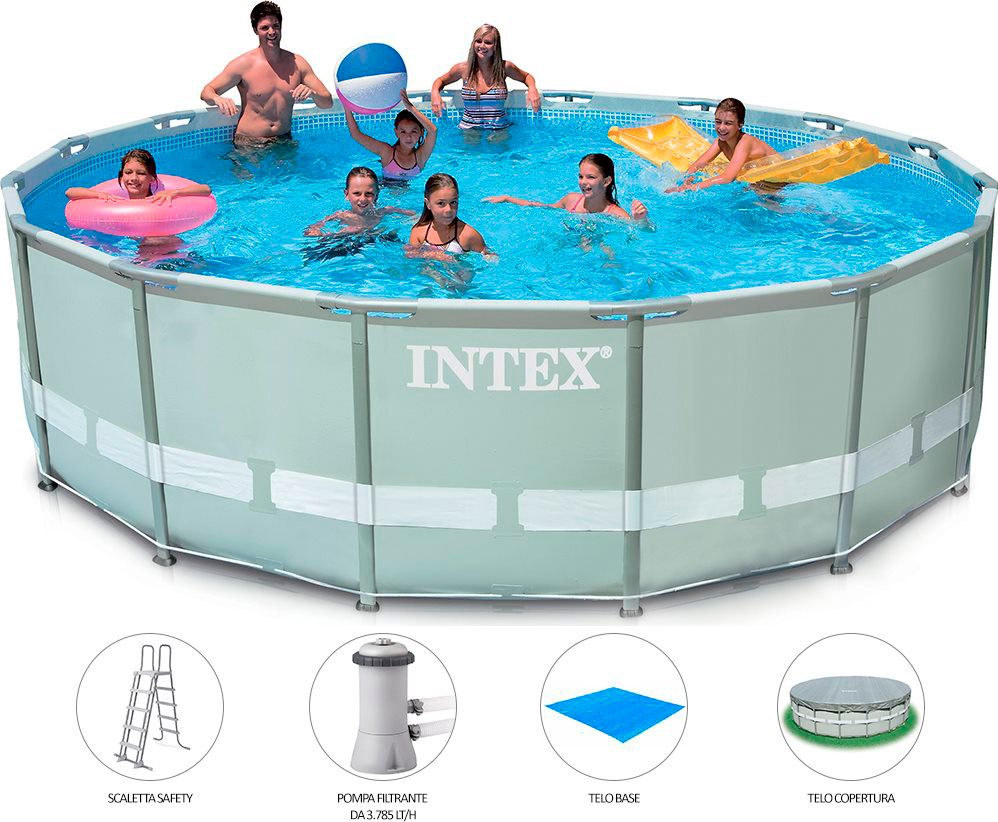 Piscina fuori terra intex telaio portante rotonda 427x107 for Piscina intex rotonda