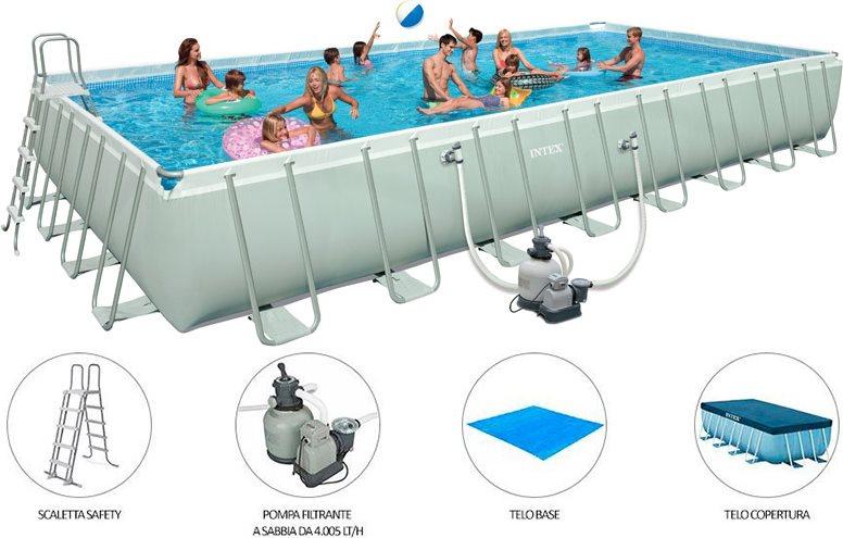 Piscina fuori terra intex telaio portante rettangolare 549x274x132 h 28352 piscine fuori terra - Giardino con piscina fuori terra ...