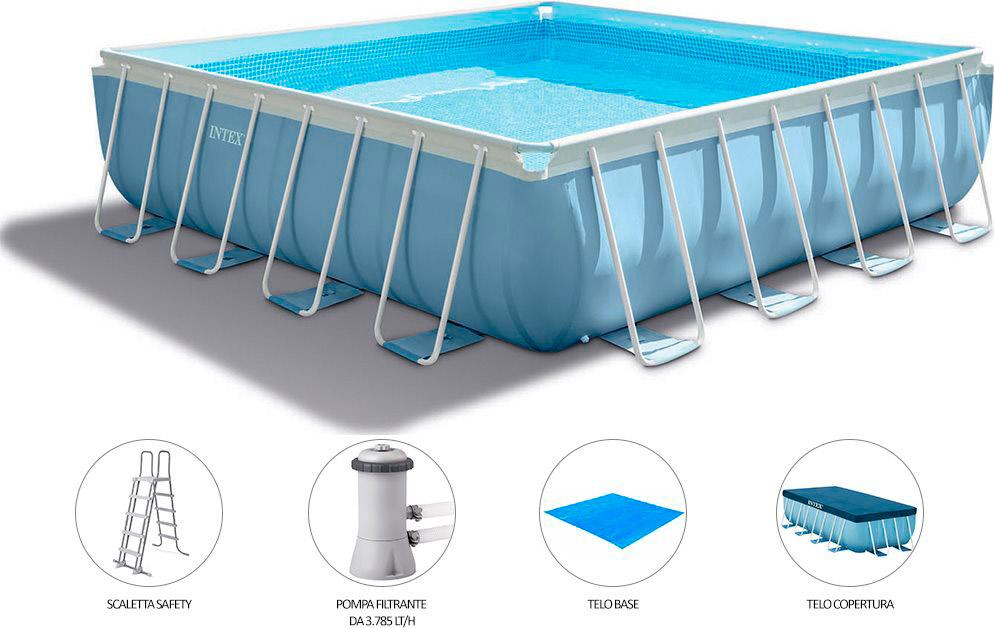Piscina fuori terra intex telaio portante quadrata for Asciugacapelli a parete per piscine