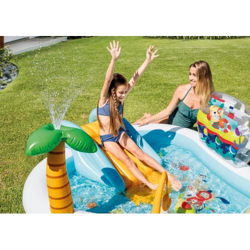 Piscina Fuori Terra Gonfiabile Piscina Esterna Per Bambini Da Giardino Con Scivolo 218x188x99 Cm 57162 Play Center Fishing Fun