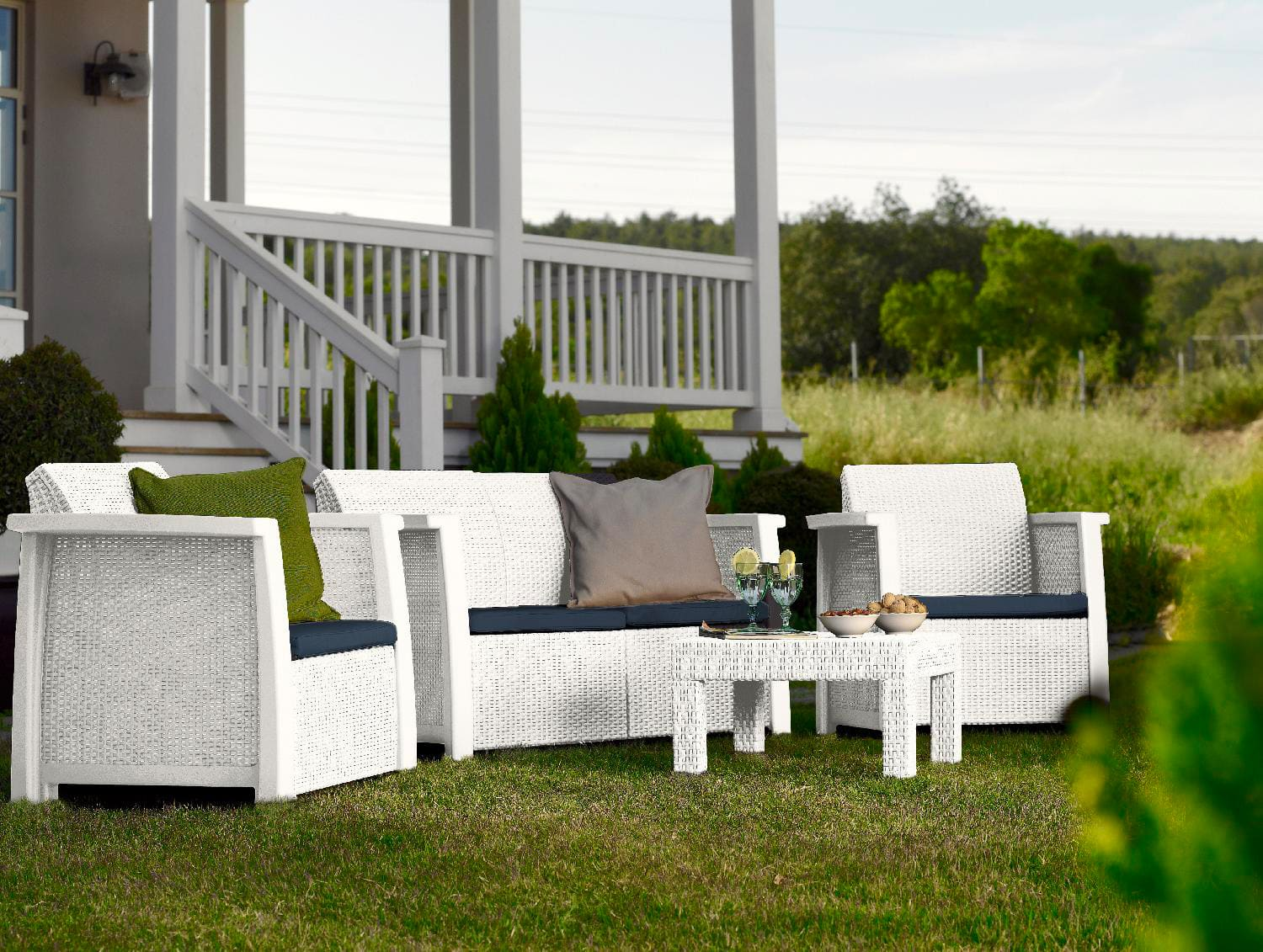 Set giardino in rattan moia cervia moro greenwood set m