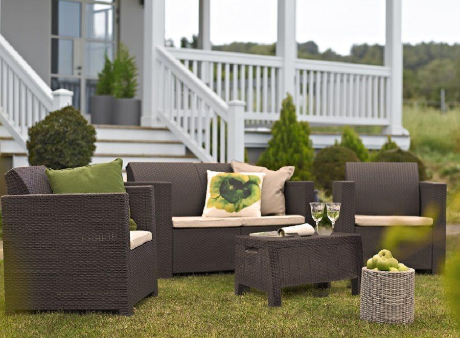 Keter salotto salottino da esterno giardino effetto rattan for Salotto per giardino