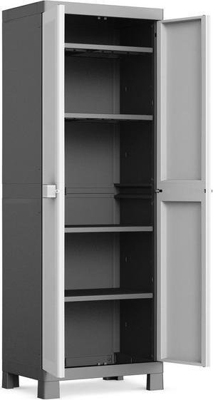 kis armadio da esterno in resina armadietto 4 ripiani lucchettabile
