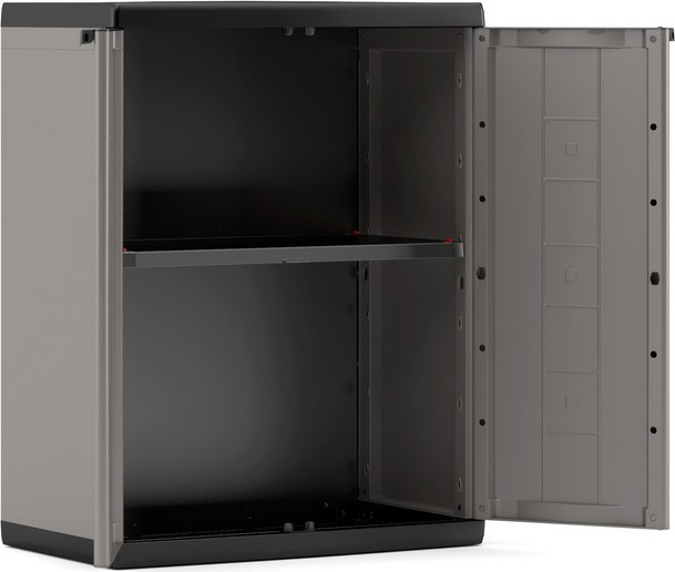 Kis armadio da esterno in resina basso 2 ante 1 ripiani 68x39x85 h cm colore grigio 9733000 - Armadio in resina da esterno ...