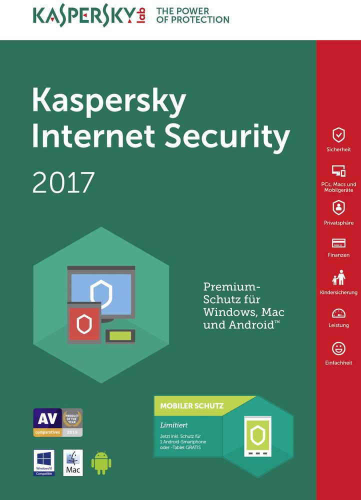 Kaspersky Software Antivirus Internet Security 2017 Dispositivi KL1941TBCFR7SLIM