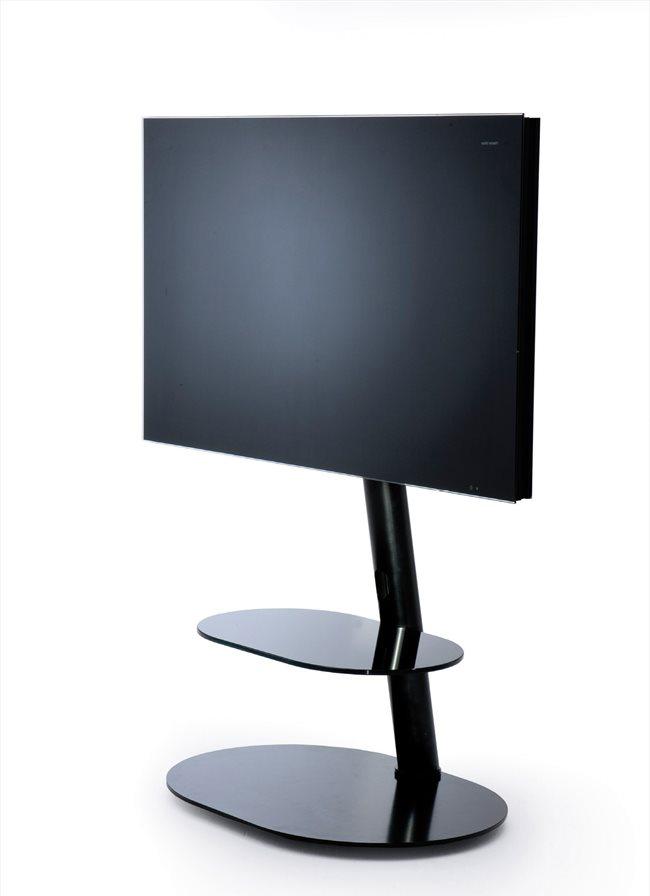 Lc Design Porta Tv.Mobile Porta Tv Supporto Per Televisori Da 32 A 55 Portata Massima 35 Kg Con Ruote A Scomparsa Colore Nero Screen Tower Black H215 Serie Nobile