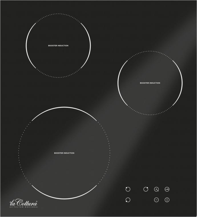 H4T38CN.000 Piano Cottura Induzione 3 Fuochi Vetroceramica colore Nero