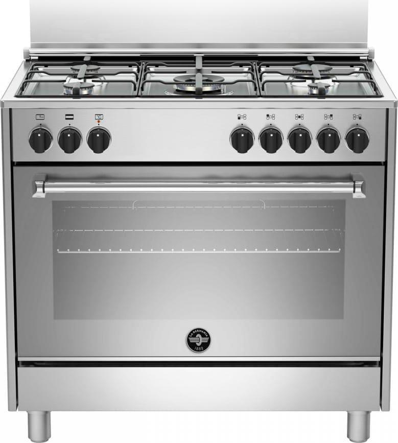 Cucina a Gas 5 Fuochi Forno Elettrico Multifunzione Libera Installazione  Larghezza x Profondità 90x60 Classe energetica A colore Inox - AMN965EXV