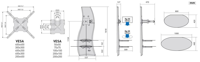 Meliconi Ghost Design 2000 Supporto Per Tv Lcd Al Plasma.Meliconi Mobile Porta Tv Supporto Per Televisori Led Da 32 A 63