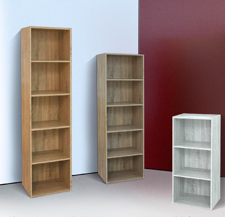 Vivense Ardo Libreria da parete con ripiani galleggianti e vetrine Noce e Bianco colore