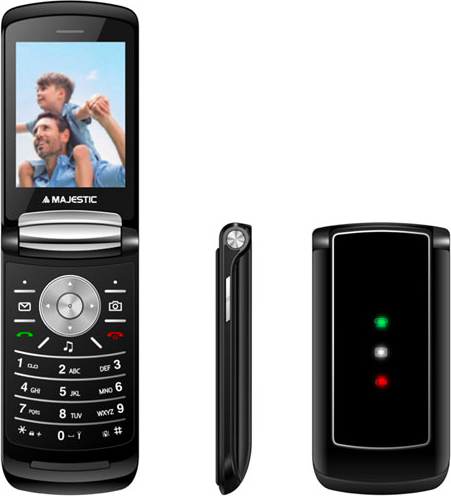 "NEW MAJESTIC 300081 Telefono Cellulare 2.8"" Bluetooth micro SD Nero  Fly Black"