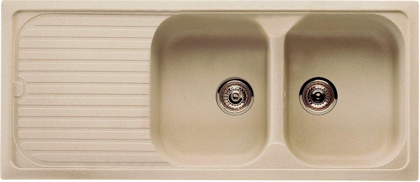 Lavandino Cucina Con Gocciolatoio lavello cucina 2 vasche incasso con gocciolatoio larghezza 116 cm materiale  ultrametal colore granito colore beige - lil 116 2 jb