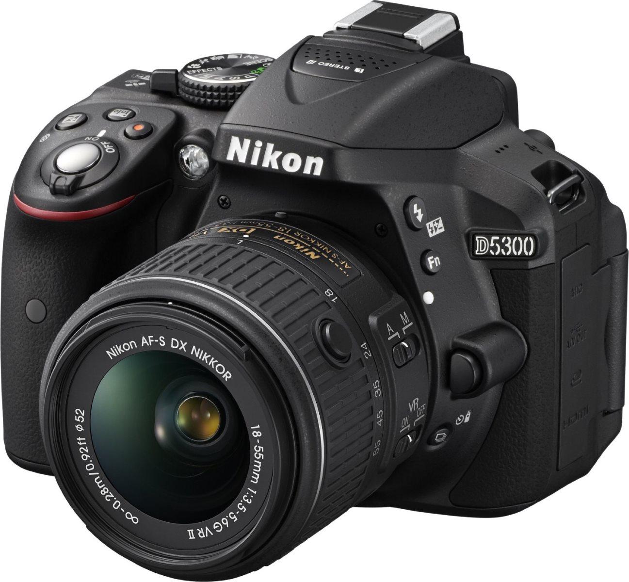 Fotocamera Reflex Digitale 24 Mpx Video Full HD CMOS Wifi D5300 + Obiettivo  AF-P 18-55 VR II + SD 8GB colore Nero - ND5345