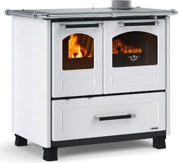 Cucina a Legna con Forno 1 Focolare in Ghisa Potenza 9 kW Volume 258 m3  Dimensione 96x64 cm Colore Bianco - Family 4.5