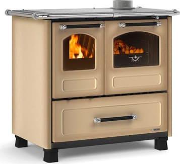 Cucina a Legna con Forno 1 Focolare in Ghisa Potenza 9 kW Volume 258 m3  Dimensione 96x64 cm Colore Cappuccino - Family 4.5