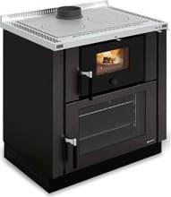 Cucina a Legna da Incasso con Forno 1 Focolare in Ghisa Potenza 8 kW Volume  229 m3 Dimensione 80x60 cm colore Nero - Verona