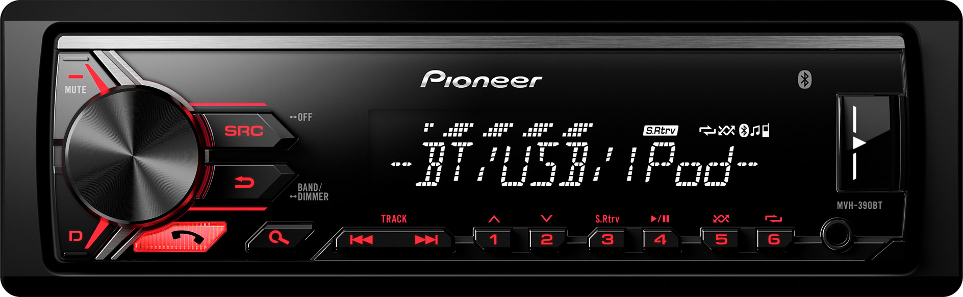 autoradio bluetooth pioneer stereo auto mvh 390bt prezzoforte 132413. Black Bedroom Furniture Sets. Home Design Ideas