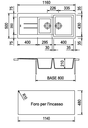 Plados lavello cucina incasso 2 vasche con gocciolatoio larghezza 116 cm materiale ultrametal - Lavandino incasso cucina ...