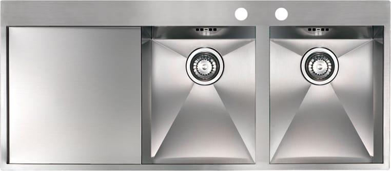 Lavello Cucina 2 Vasche Incasso con Gocciolatoio Sx Larghezza 116 cm  materiale/finitura Acciaio Inox - MK11622 Serie Maki