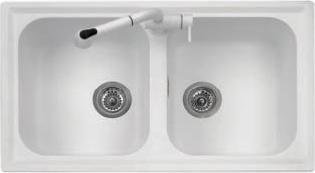 Lavello Cucina Fragranite 2 Vasche Incasso Larghezza 86 cm materiale  Ultragranit colore Grigio Grafite UG91 - PL0862 Serie Atlantic