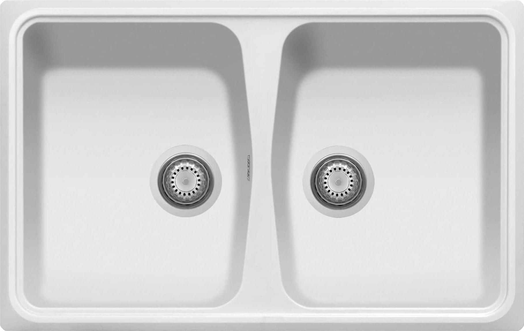 Lavello Fragranite Cucina Incasso 2 Vasche Larghezza 79 cm materiale  Ultraquartz colore Bianco UQ01 - Serie Spazio SP0792