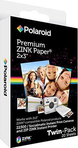 """Polaroid Carta fotografica 2x3"""" 20 fogli Fotocamera Zip Zink Twin Pack POLZ2X320"""